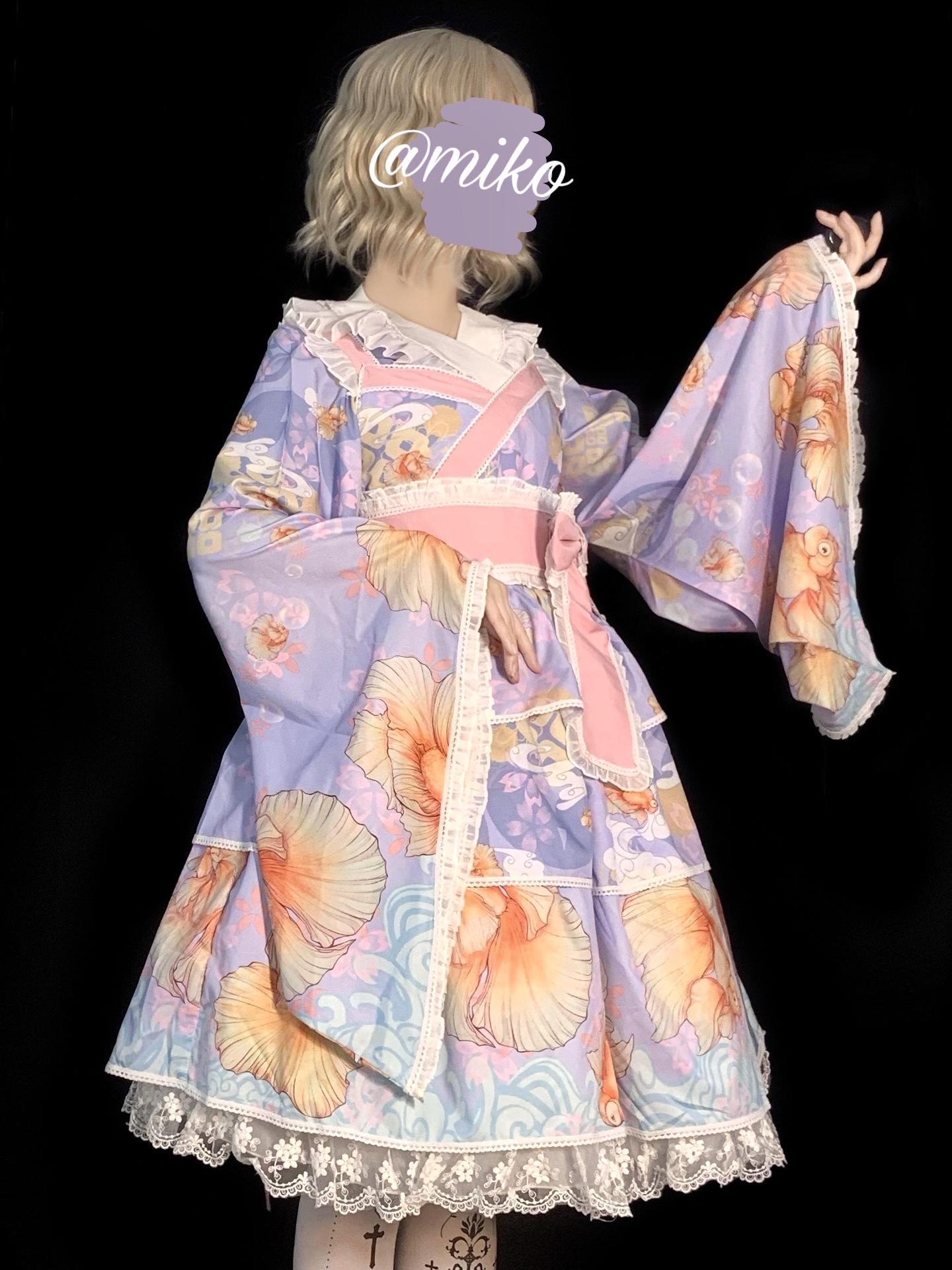 [deposit] original design Lolita and wind Lolita skirt red scale fish jsk dress