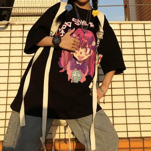 YD自制 二次元卡通动漫印花纯棉短袖男女宽松bf高街T恤半袖打底衫图片