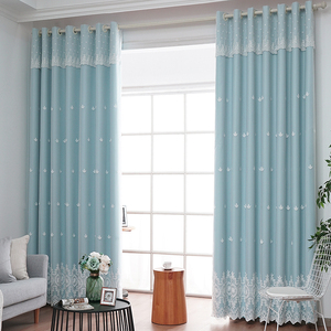 窗帘遮光现代简约田园风双层卧室飘窗纯色温馨大气客厅成品窗帘布