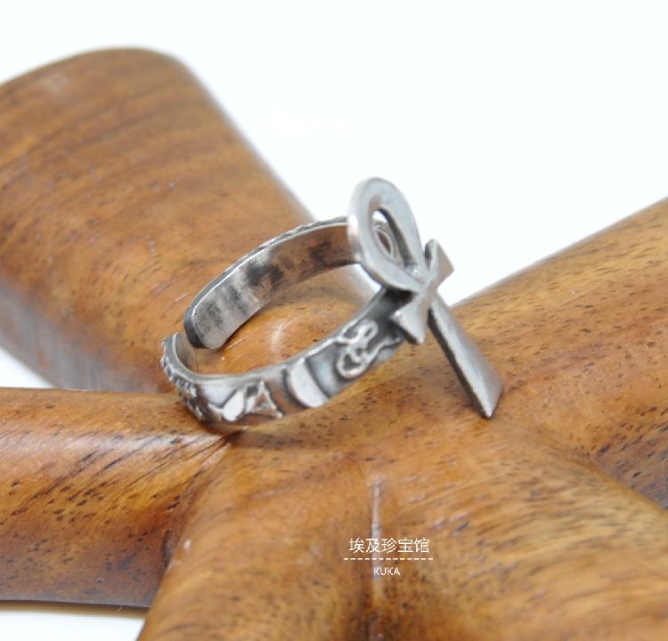 现货古埃及安卡生命钥匙 永生符 银戒指 埃及戒指 护身符 S925银