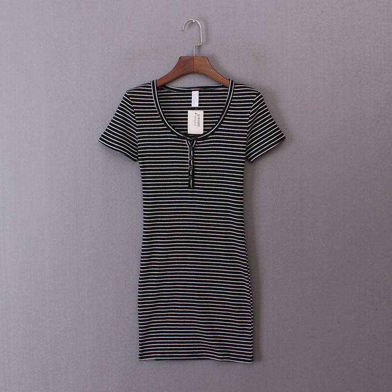 欧美单女装2018夏季新款修身弹力包臀裙条纹纯棉短袖连衣裙短裙