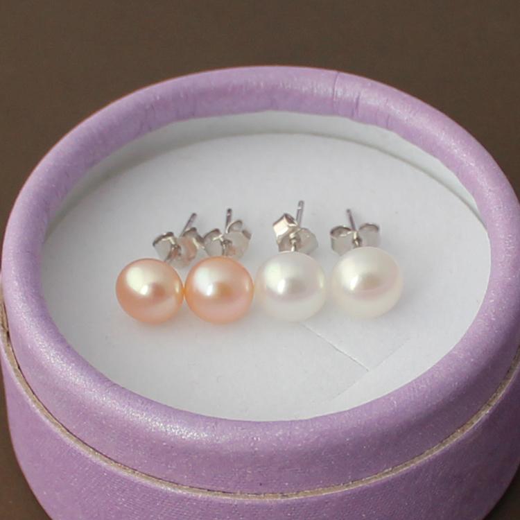 Stewardess Earrings natural freshwater flat round pearl earrings S925 Sterling Silver anti allergy commuter temperament ol