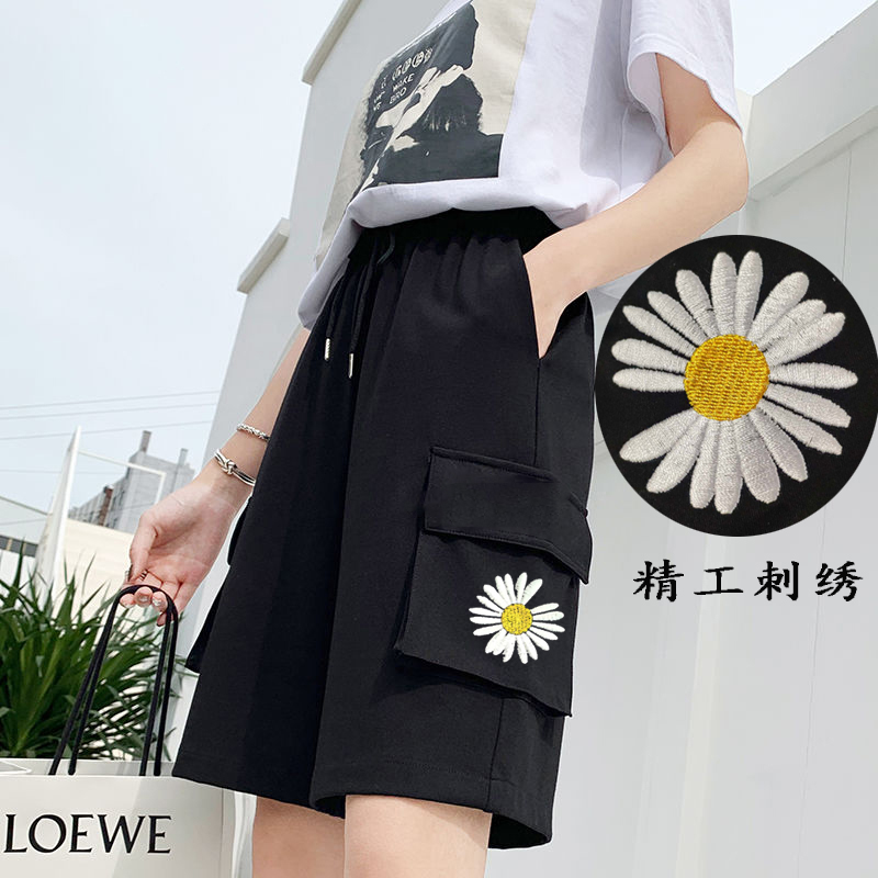 Pure cotton overalls shorts summer female students high waist thin Korean version loose Little Daisy 5-point pants casual versatile male