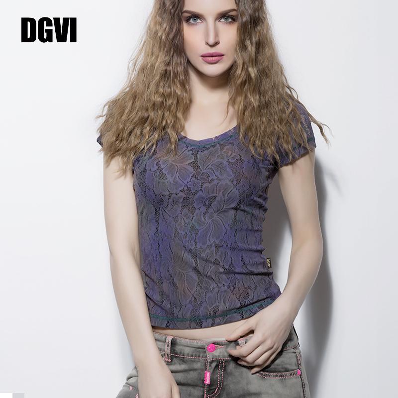 DGVI紫色蕾丝T恤衫女2021夏季新款时尚欧美风薄款透气短袖上衣