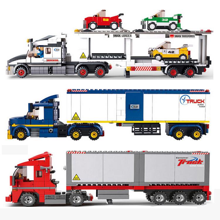 小鲁班兼容legao汽车男孩子6岁拼装积木运输货车卡车玩具城市系列
