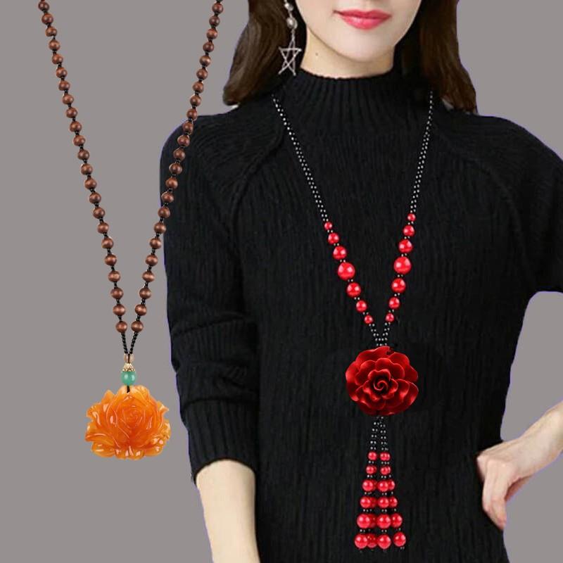 (用8元券)朱砂长款女红玫瑰花复古百搭毛衣链