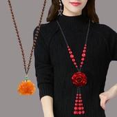 朱砂毛衣链长款女红玫瑰花复古百搭衣服配饰项链挂件秋民族风饰品
