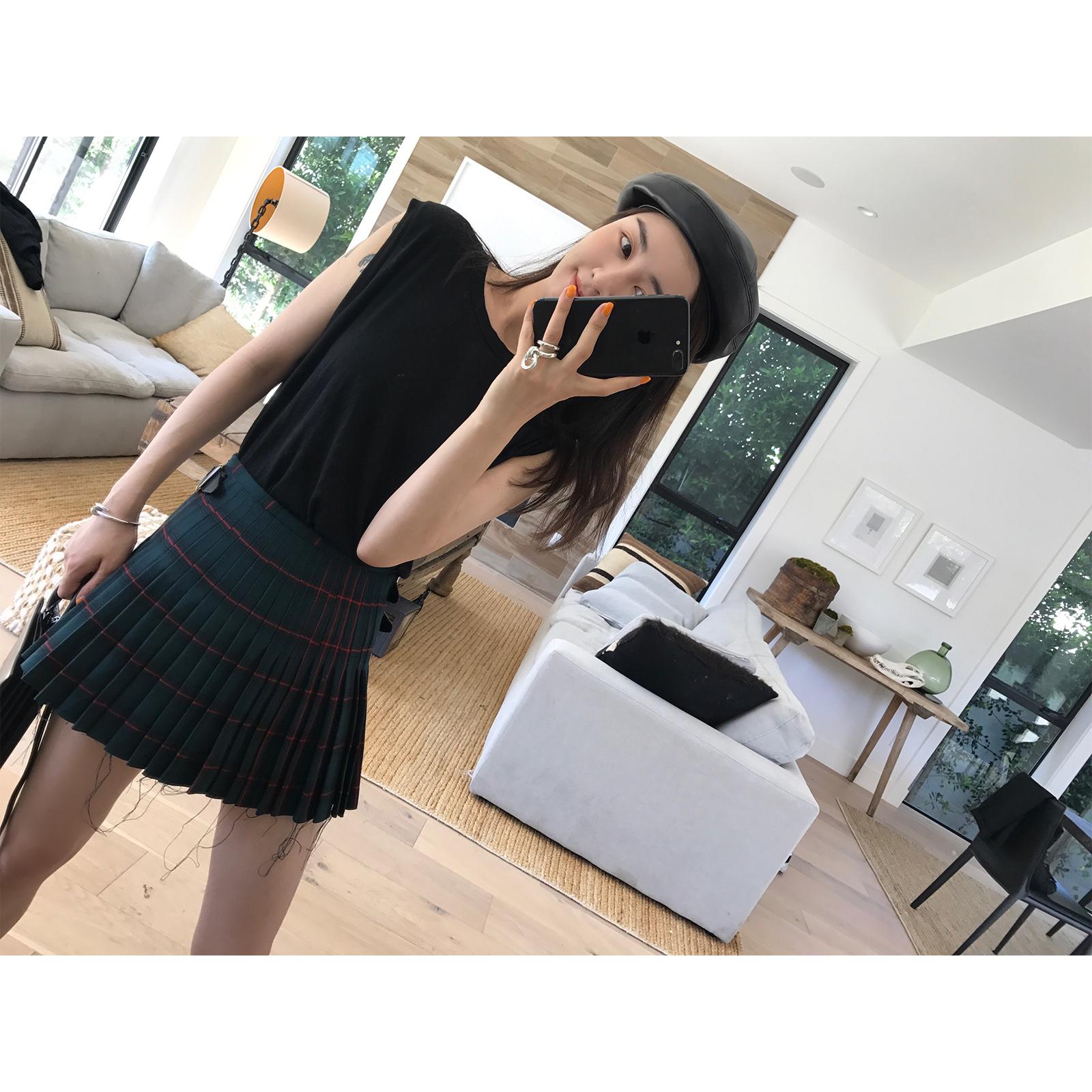 vcruan阿希哥 格子半身裙女新款高腰气质短裙减龄百搭a字百褶裙