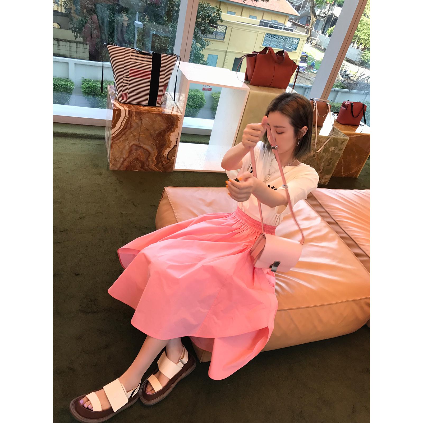 vcruan阿希哥裙子夏女2018新款不规则宽松中长款a字裙粉色半身裙