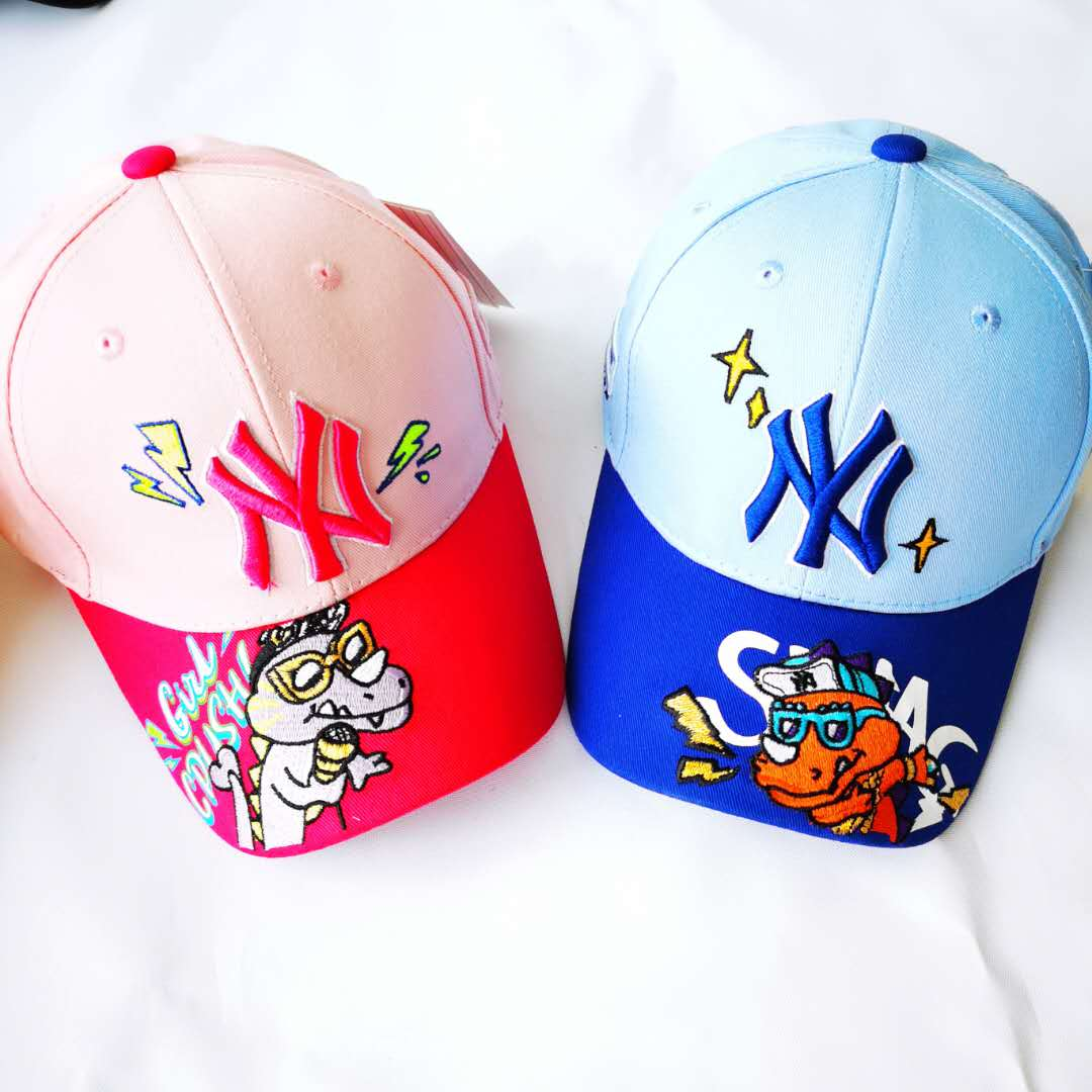 Upgraded four seasons NY Embroidered Baseball Cap La childrens Yankees little dinosaur mesh cap for boys and girls