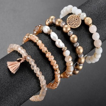 Baozhen fresh water pearl glass crystal five sets of beads