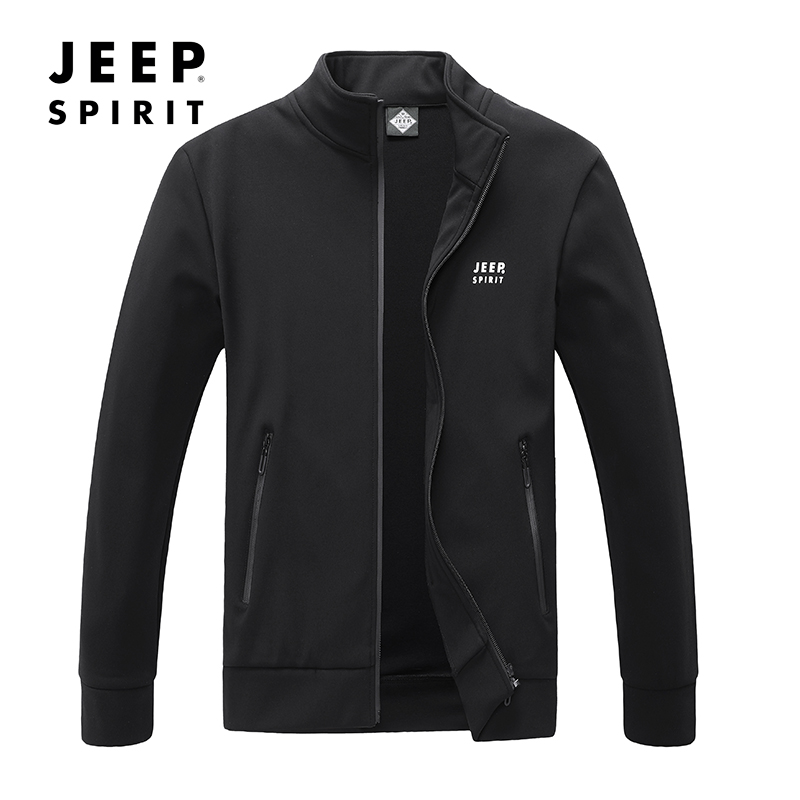 Jeep Jeep hooded mens spring and autumn cardigan jacket thin sportswear young mens stand collar long sleeve coat
