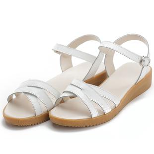 2020夏季新款真皮平底舒適軟底涼鞋女外穿孕婦牛筋底防滑媽媽涼鞋