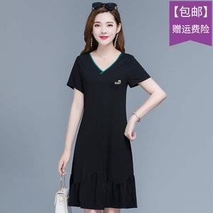 大码V领直筒连衣裙女2020夏新款修身显瘦时尚鱼尾裙中长款打底裙