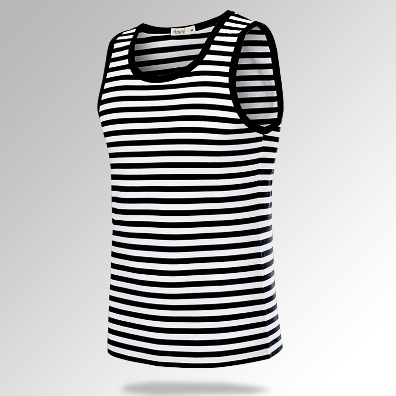 Sea soul summer mens Vest sleeveless T-shirt cotton stripe basketball vest hurdle breathable waistcoat