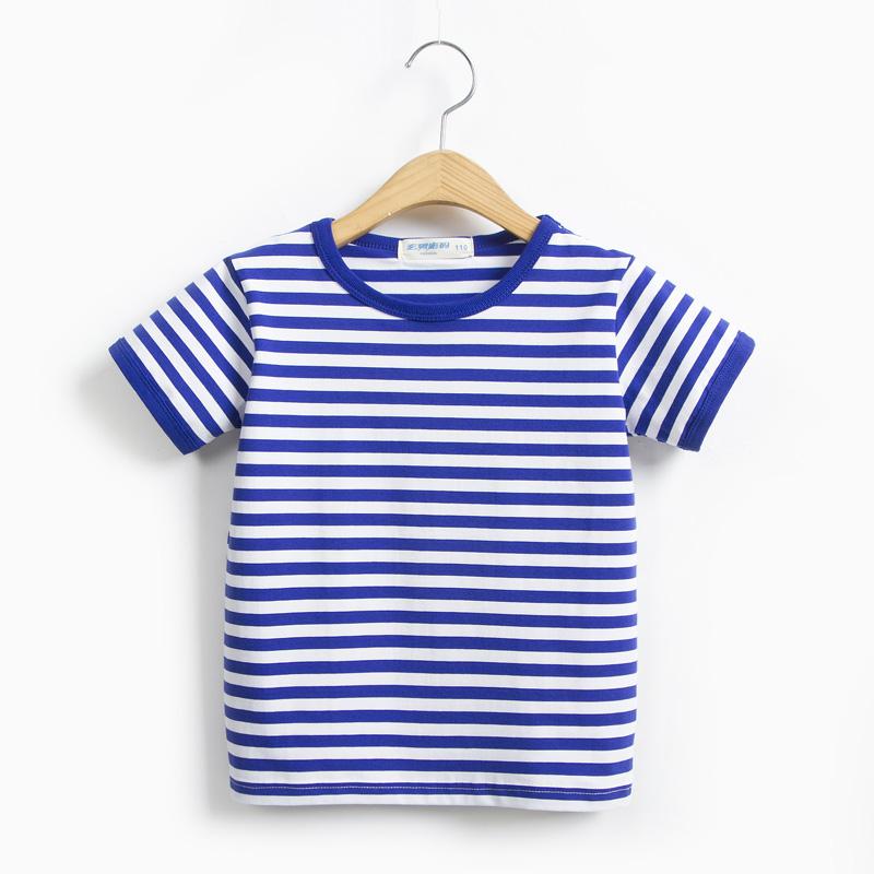 男童女童儿童装海魂衫纯棉短袖t恤宝宝海军风条纹半袖学生班服