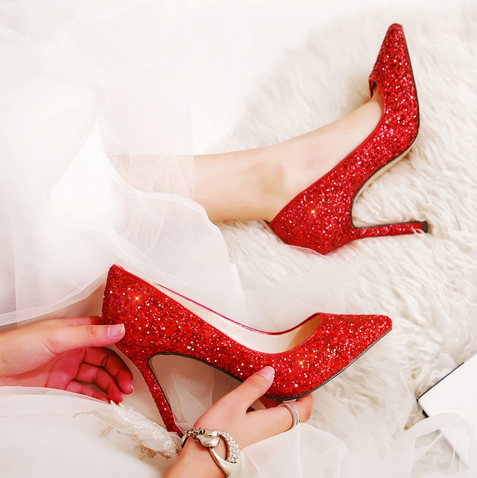 2020 new wedding shoes female red crystal wedding shoes bridal shoes high heel slim heels Xiuhe Wedding Shoes Sexy