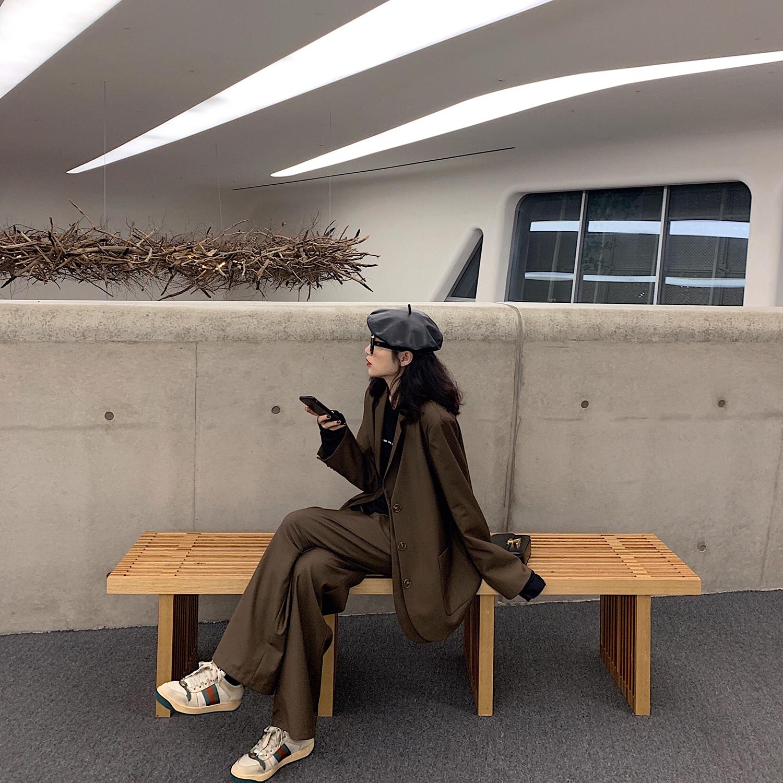 MIKASTUDIO小玉酱秋季西装套装女2019新款韩版外套长裤洋气两件套满159.00元可用1元优惠券