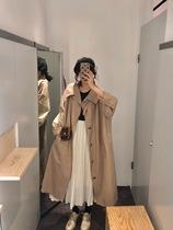 新款2019裙摆式粉色风衣女长款过膝宽松流行英伦风外套大衣女秋季
