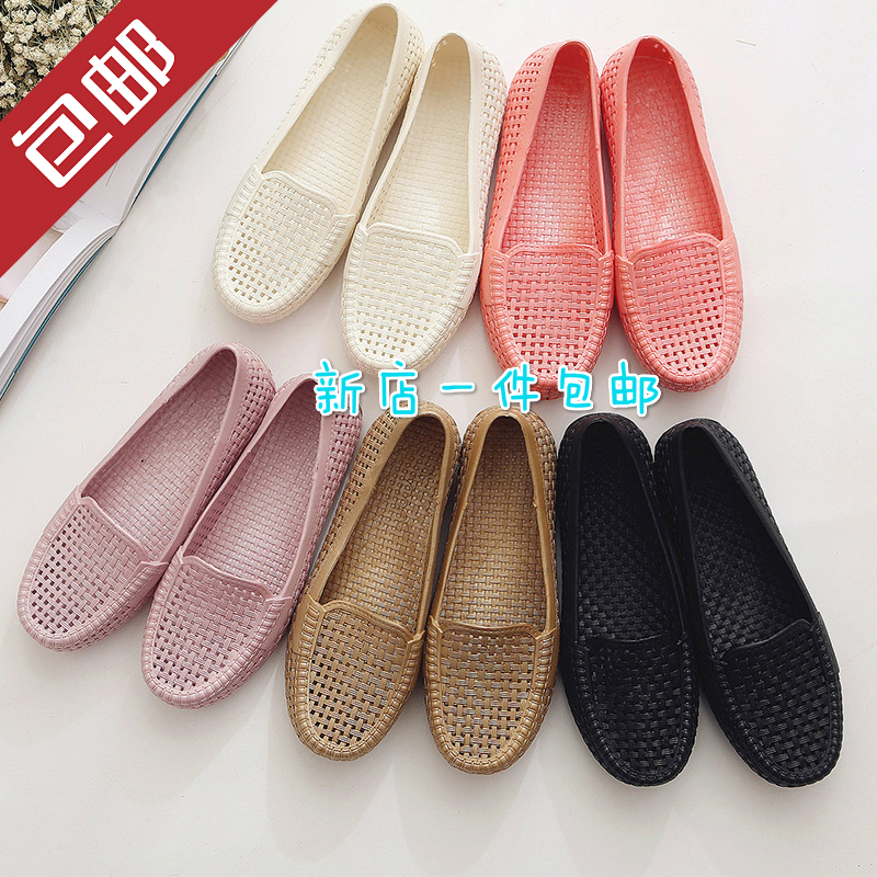 Summer beach Doudou mother shoes breathable nurse hole shoes flat bottomed womens sandals middle-aged and elderly flat heels versatile womens shoes