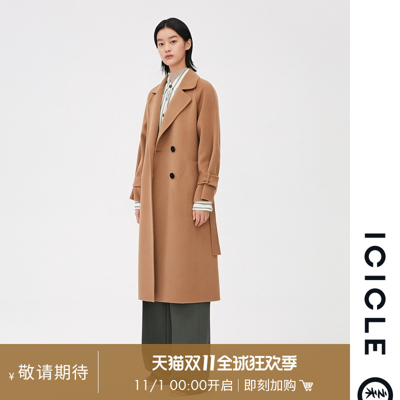 ICICLE Women's 20 autumn and winter new wool and cashmere double-sided woolen raglan sleeve coat 1CA23120220A
