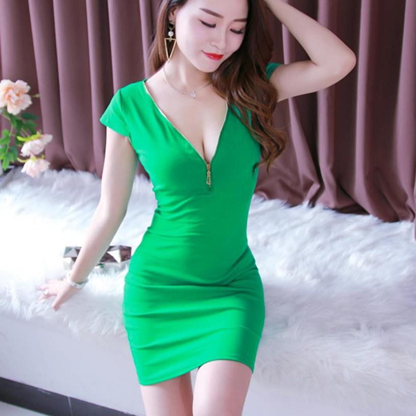 夜场女装性感2021新款夏季修身显瘦纯色露胸气质短袖包臀连衣裙潮