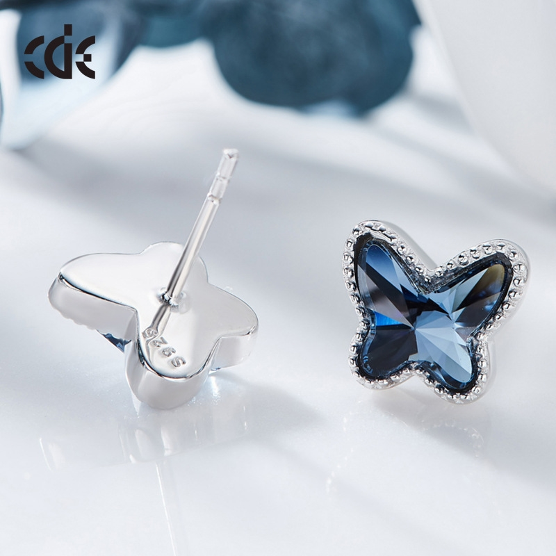 Cedell S925 Silver Natural high-end style earrings womens fashion simple and versatile Creative Blue Butterfly Crystal Earrings