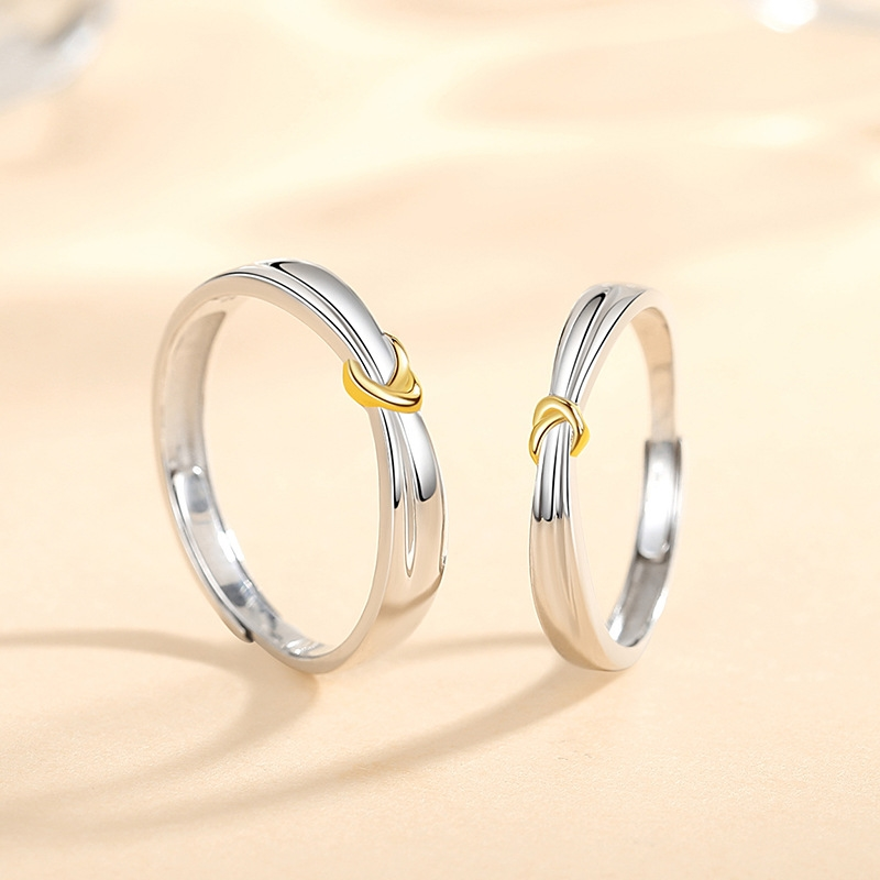 Creative concentric knot lovers RING 925 Sterling Silver niche design double V love ring simple ring commemorative gift