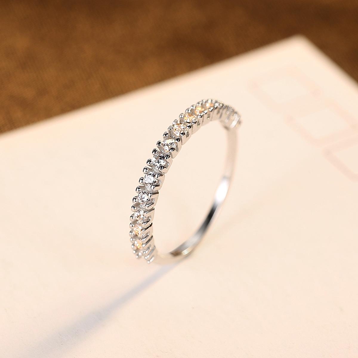 PAG-MAG S925银手饰百搭创意设计指环 单排镶钻镀白金锆石戒指女
