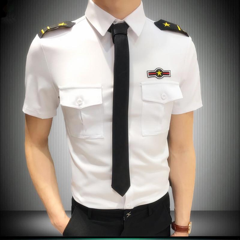 发型师短袖衬衫夜店KTV酒吧工作服夜场男装修身空少制服演出衬衣