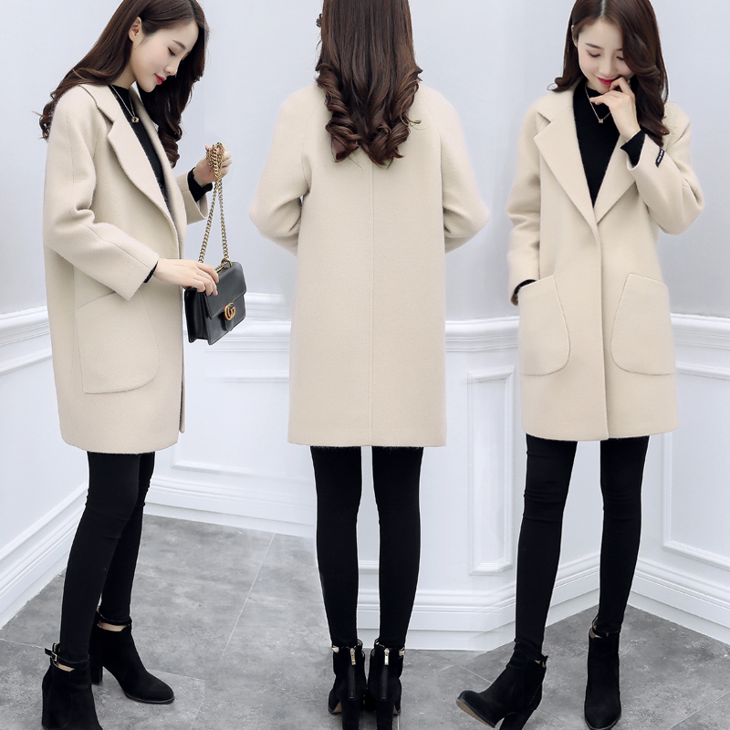Woollen coat womens middle long small 2021 new autumn and winter Korean popular students show thin tweed coat women