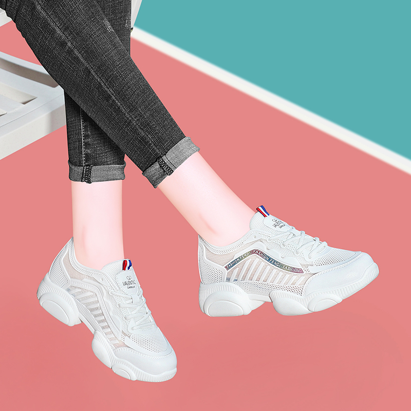 Sports shoes 2020 new womens shoes summer casual shoes dad shoes mesh shoes breathable inner heightening small white shoes travel shoes