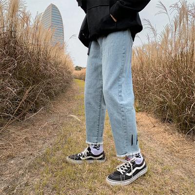 熱賣!港風簡約百搭復古牛仔褲男 2020春夏季韓版直筒九分褲P40