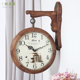 大号香樟木双面挂钟 欧式 复古客厅餐厅实木现代简约美式 乡村挂钟