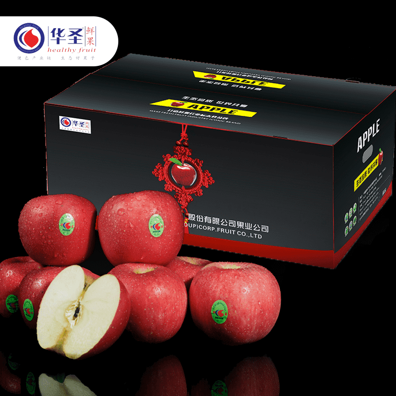 Huasheng Shaanxi apple fresh crisp sweet fruit Luochuan Red Fuji selected big fruit 10 jin 18 pack 85mm package