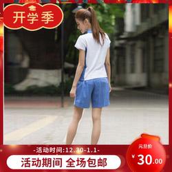 深圳校服中学女生短袖白色上衣蓝色短裤沙臣豹活力学生大码夏季套