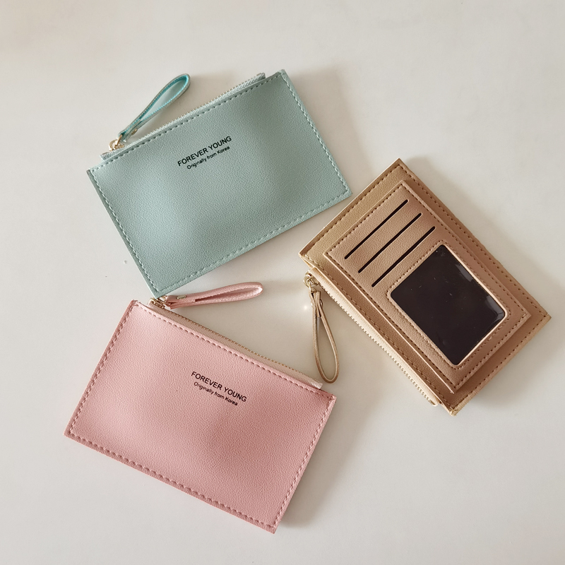 Card bag womens new style simple and generous, versatile, ultra-thin multi card position Pu zipper zero wallet, small and fashionable small wallet women