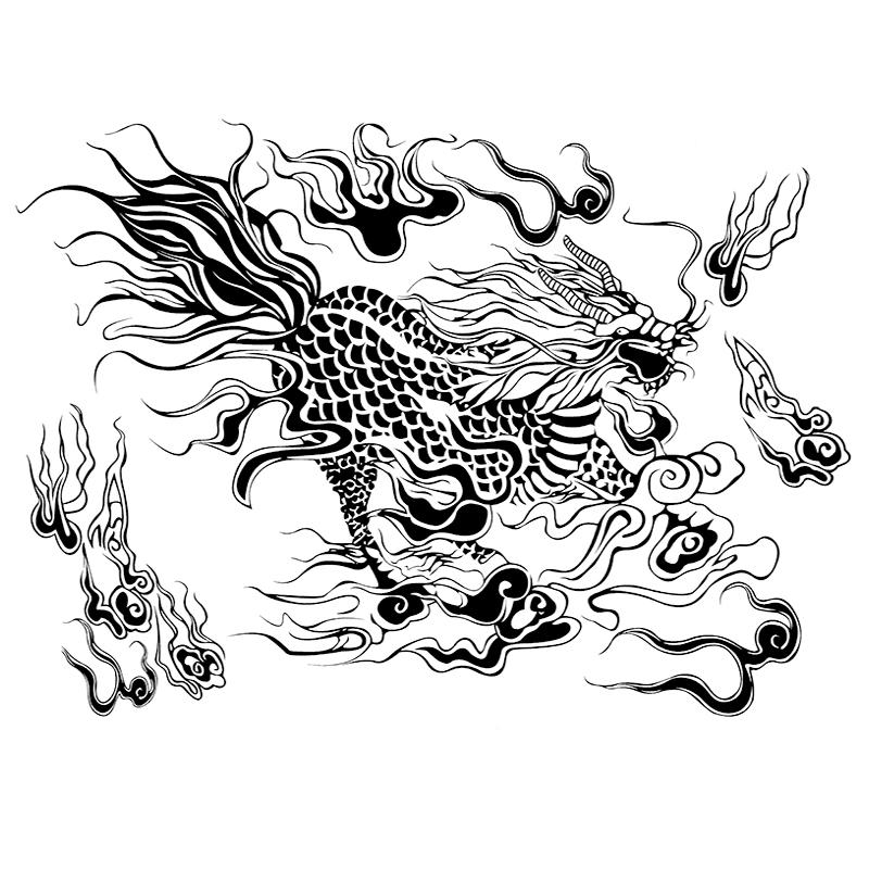麒麟图腾纹身贴防水男女持久张起灵图案满背后背胸前半臂花臂贴纸