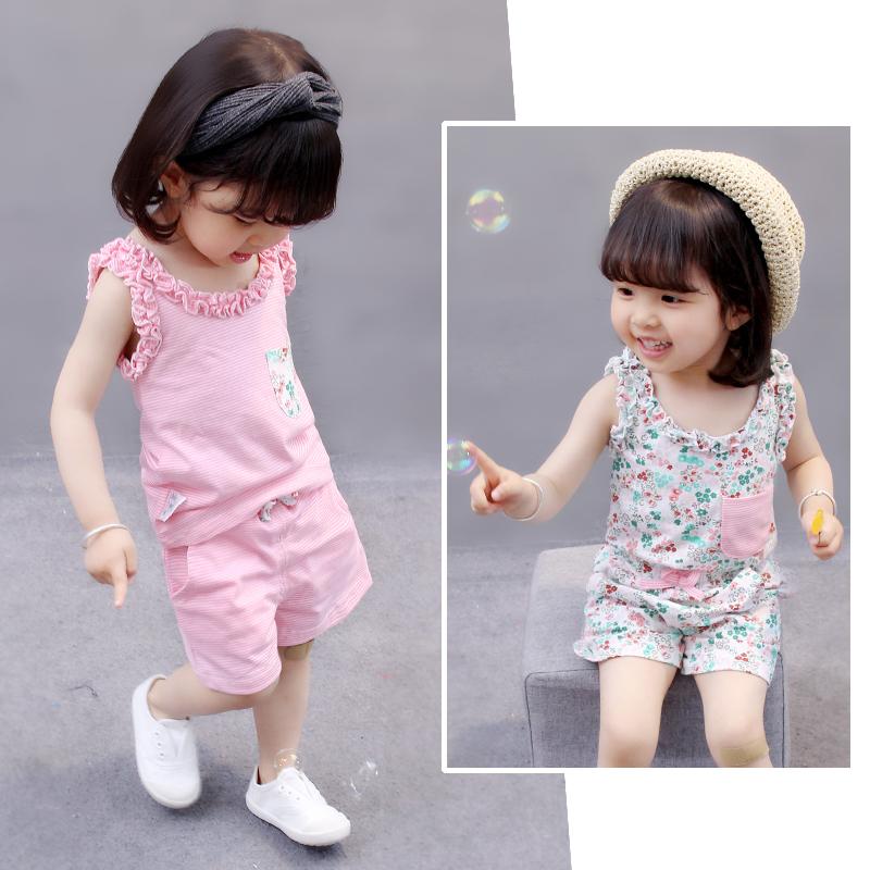 女宝女童0女宝宝夏装3岁衣服夏季2婴儿童小孩1周岁短袖纯棉套装潮
