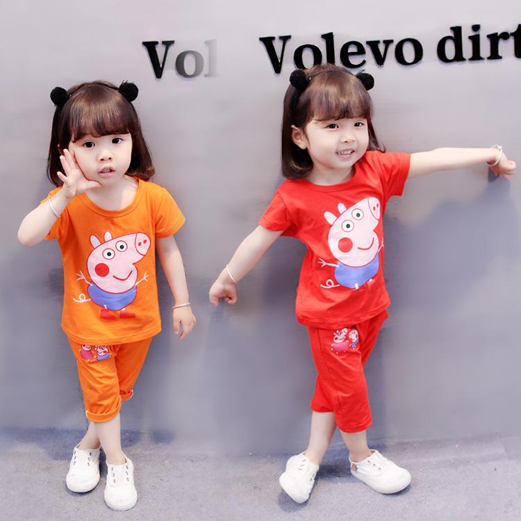 女童女����1夏�b0夏季2小�i佩奇衣服��和��b3�q�n版4夏天套�b潮5