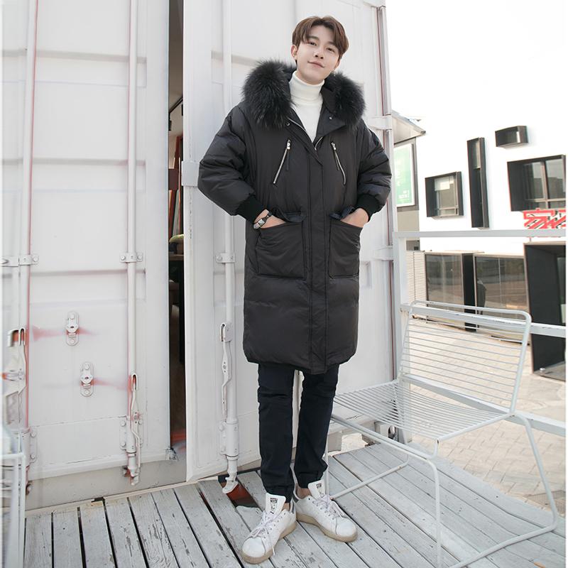 2019年冬季新款羽绒服男士加厚防寒加绒中长款防风时尚爆款外套潮图片