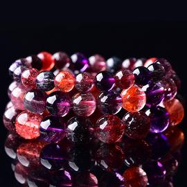 超七珠宝天然马达加斯加超级七手串三轮骨干水晶紫发晶黑加仑手链图片