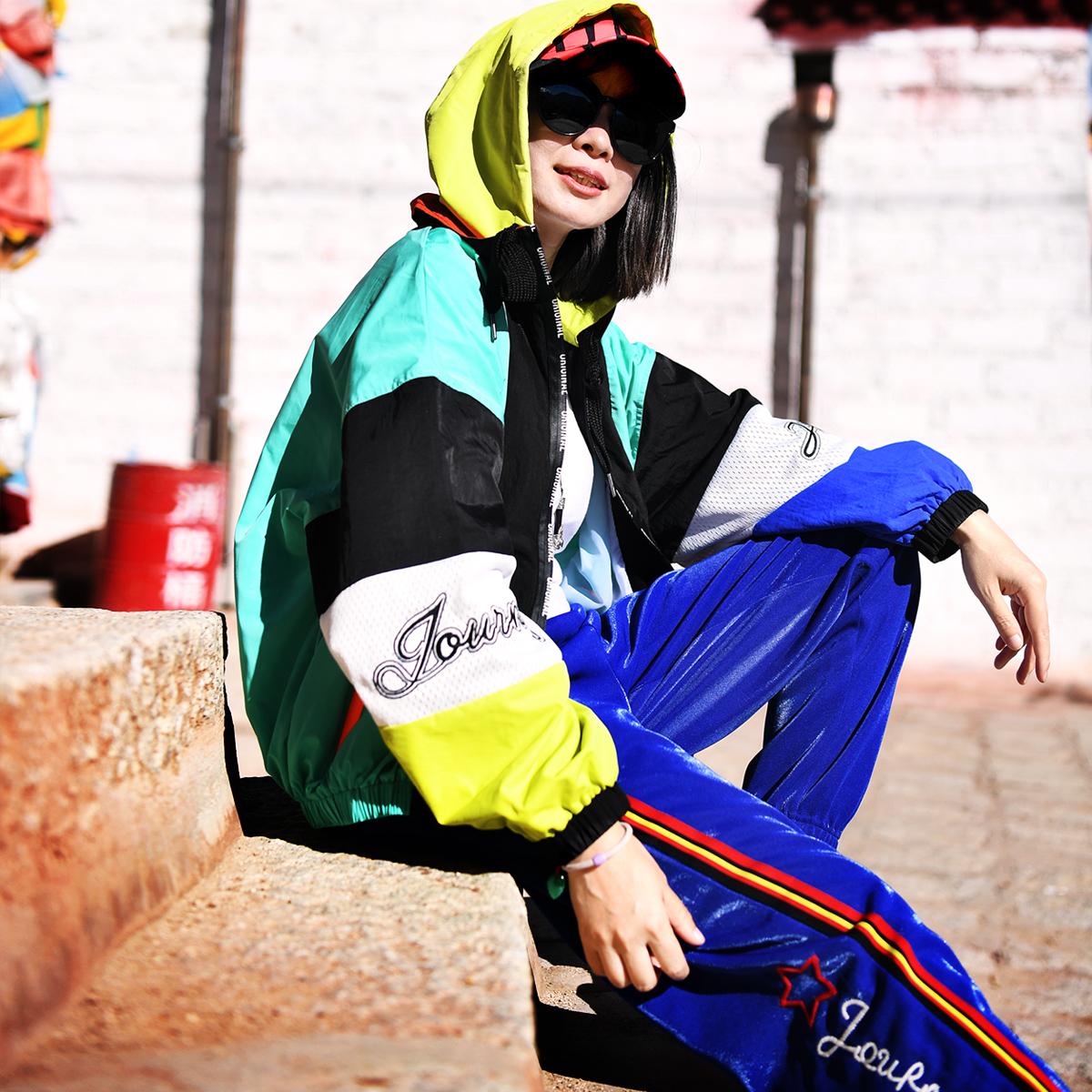 北京森林新款户外运动透气拼色速干衣开衫外套女式限量无补