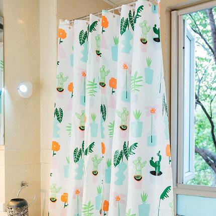 北欧ins浴帘套装免打孔浴室隔断帘卫生间加厚防霉淋浴挂帘防水布