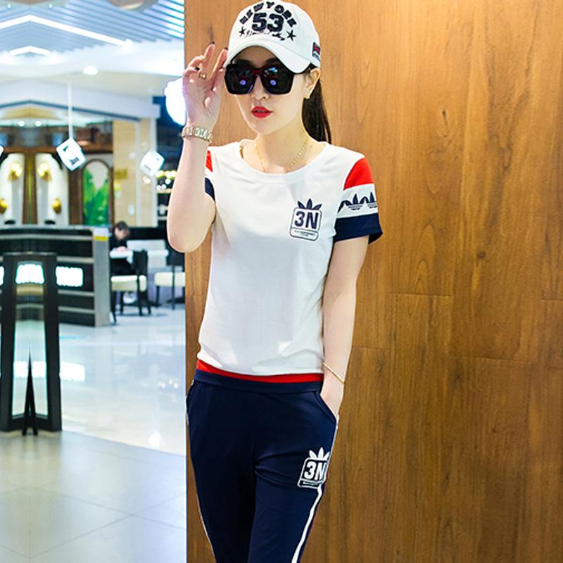 Спортивный набор женщины одеваются наряд лето случайный одежда 2017 новый мода тонкая модель два рукава свободный корейский бег студент