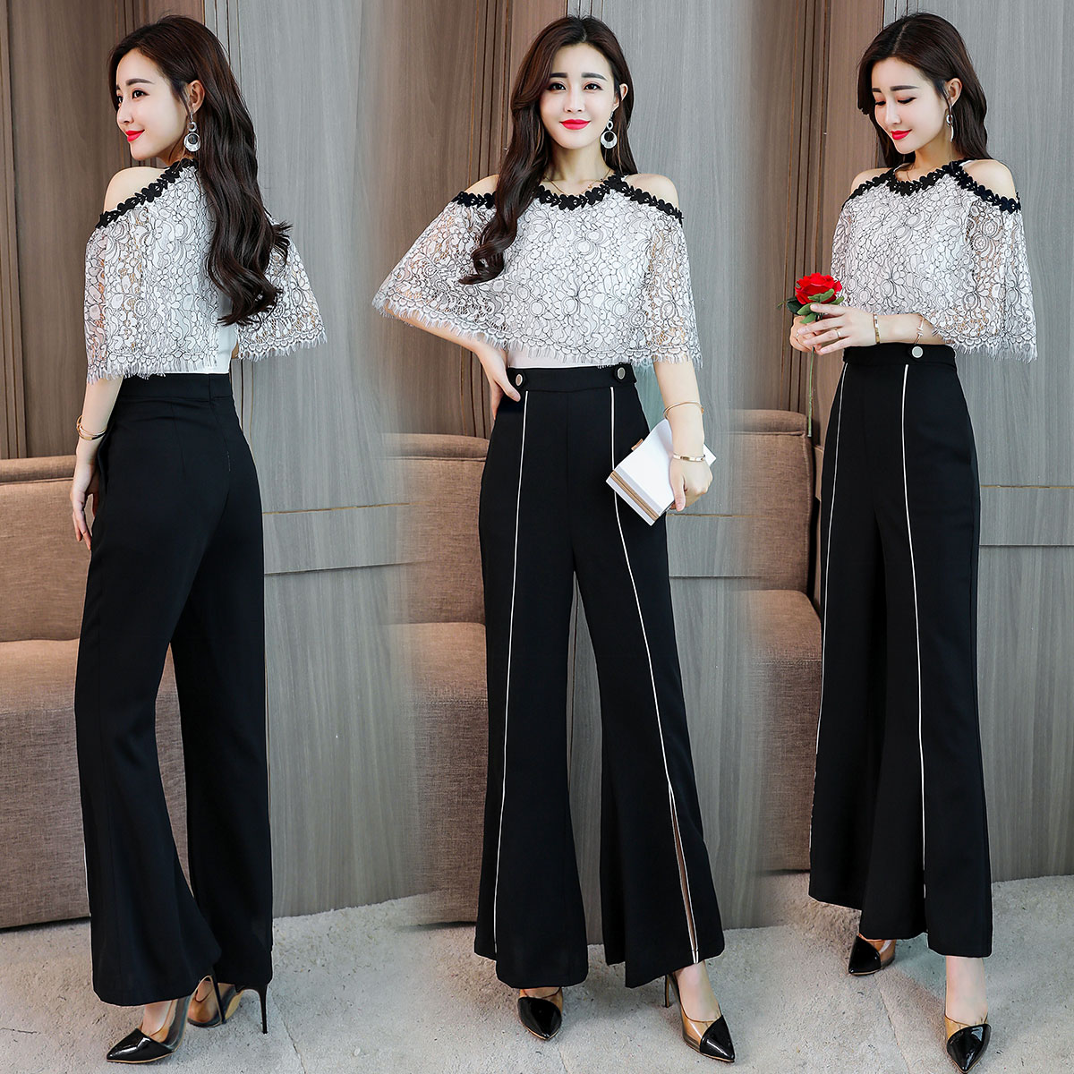 Summer off shoulder shawl sleeve lace top stitching Jumpsuit thin flared Jumpsuit high waist Capris