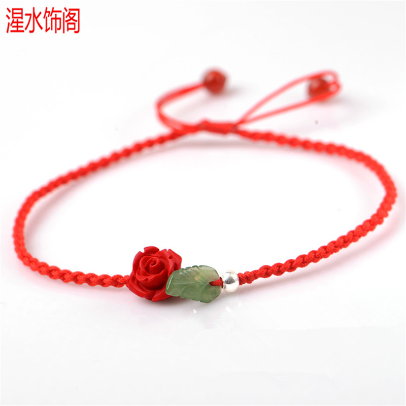 Benmingnian red rope Anklet womens cinnabar powder pressed rose emerald leaf accessories woven womens hand rope gift