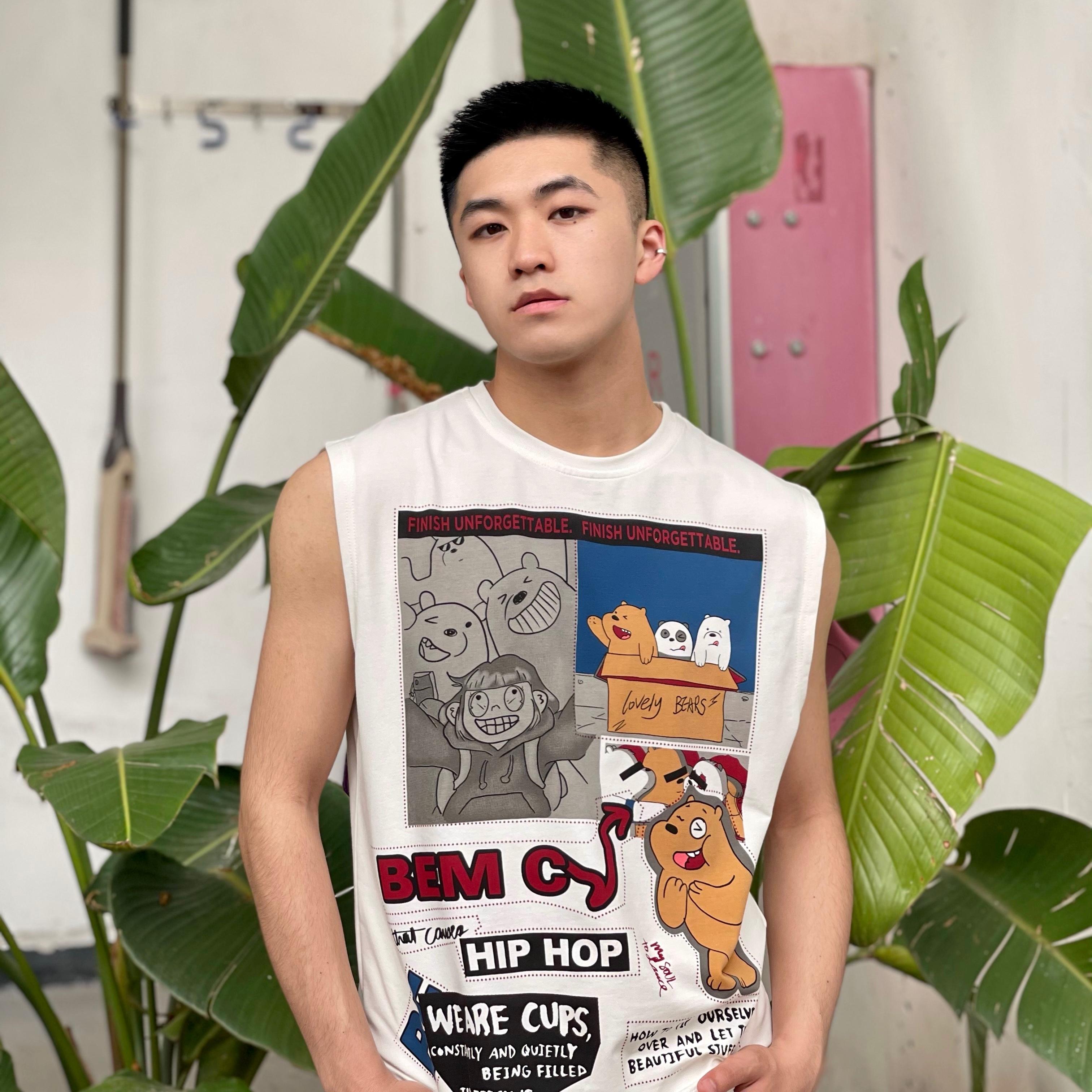Rh/ 21ss 男生无袖背心圆领卡通熊印花刺绣图案黑白双色烫印宽松