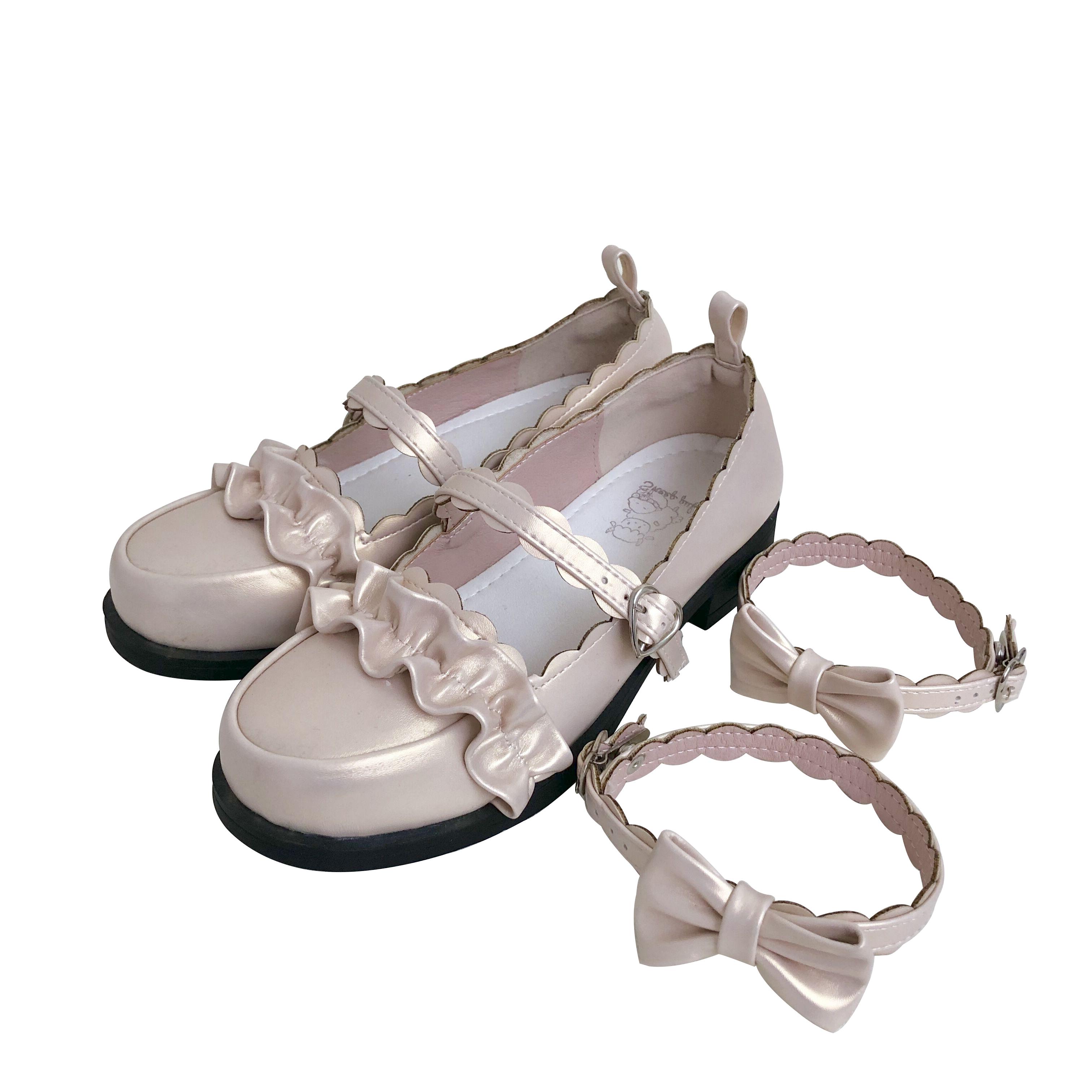 【现货】低跟梅露露 绵羊泡芙原创Lolita鞋日系花边圆头学生鞋