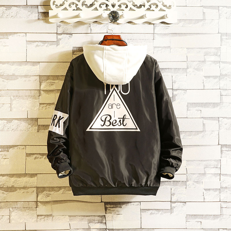 Spring and autumn four seasons fashion standard trend new mens youth jacket baseball collar hooded Long Sleeve Jacket